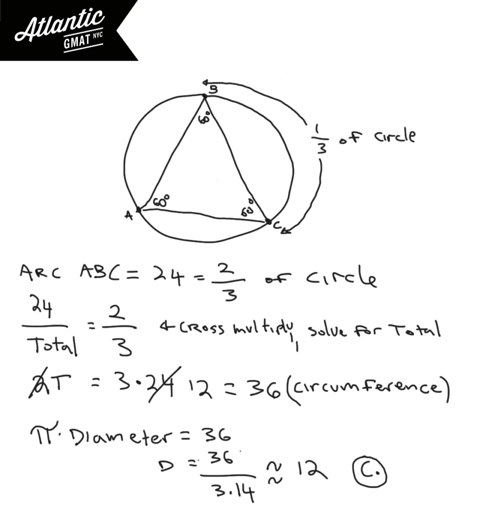 In the figure above equilateral triangle ABC is inscribed in the circle. If the length of arc ABC is 24, what is the approximate diameter of the circle?