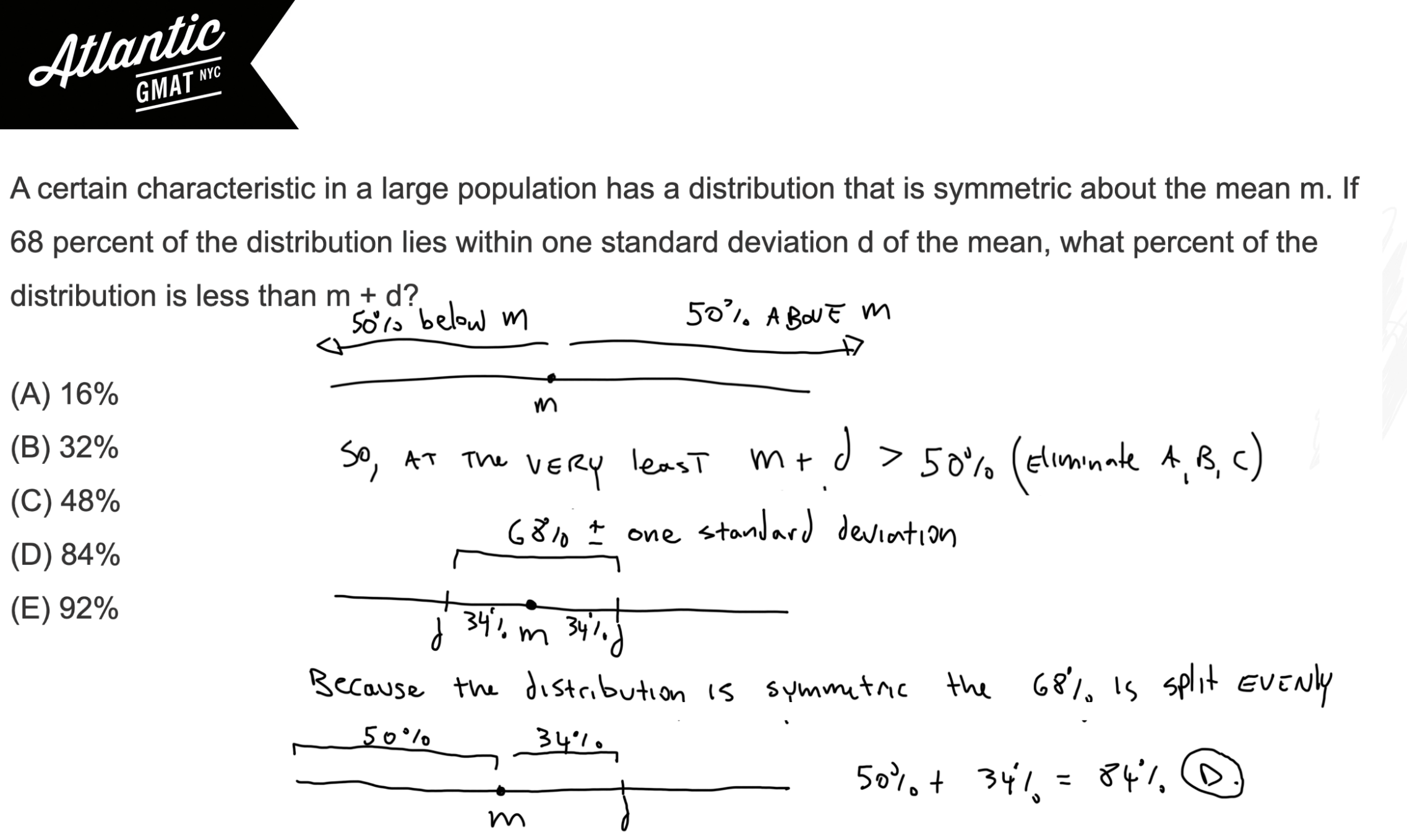 A certain characteristic in a large population has a distribution that is symmetric about the mean m GMAT Explanation Diagram