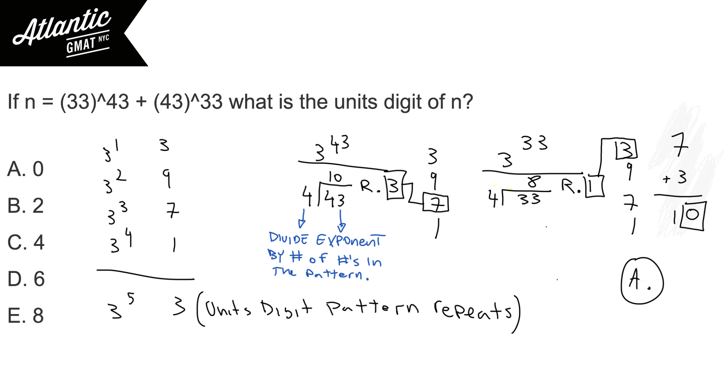 If n equals 33 43 + 43 33 what is the units digit of n? GMAT Explanation Diagram