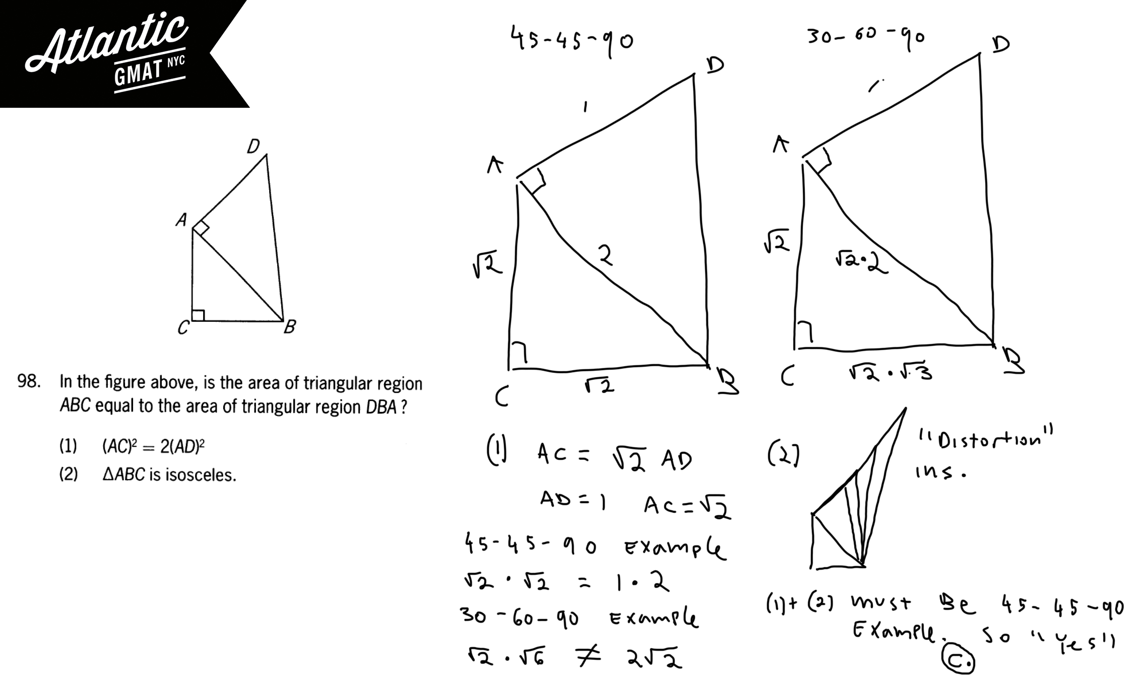 In the figure above, is the area of triangular region ABC equal to the area of triangular region DBA? full solution diagram