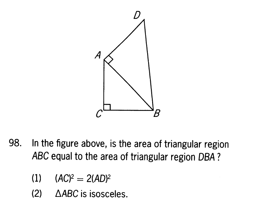 In the figure above, is the area of triangular region ABC equal to the area of triangular region DBA? diagram
