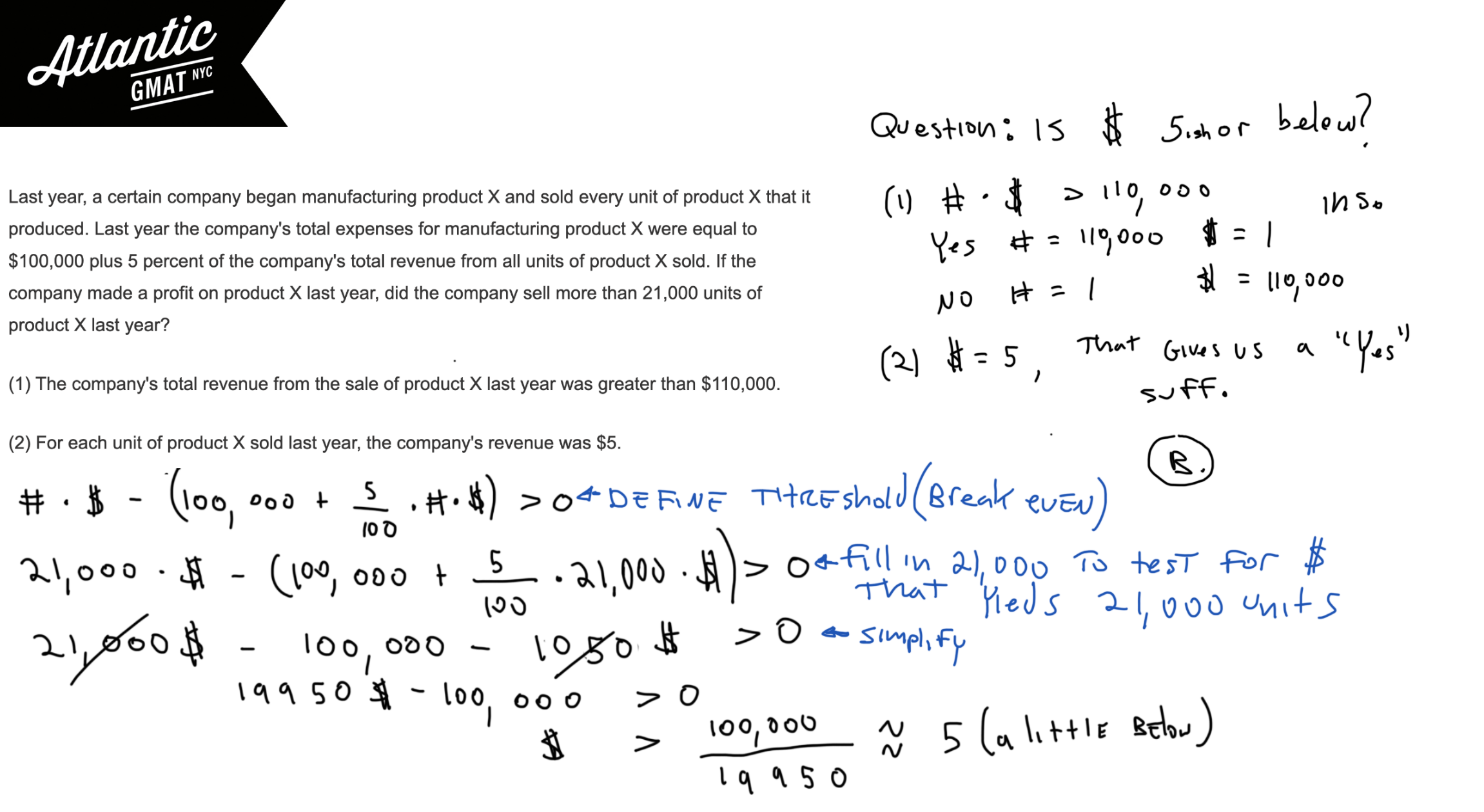 Last year, a certain company began manufacturing product X and sold every unit of product X that it produced. Last year the company's total expenses for manufacturing GMAT Explanation Diagram