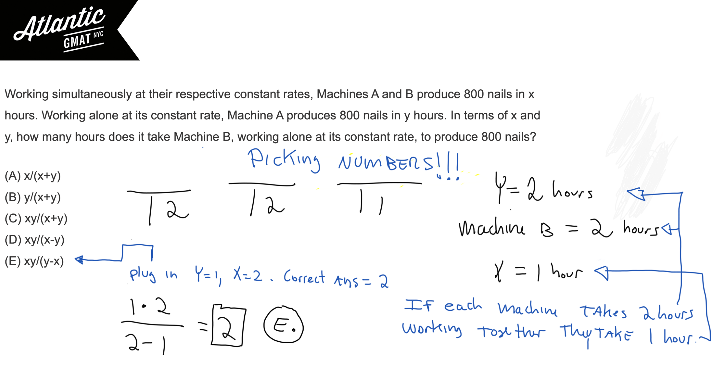 Working simultaneously at their respective constant rates, Machines A and B produce 800 nails GMAT Explanation Picking Numbers Diagram